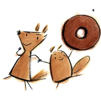 Sketch: Two squirrels triumphantly hold a donut in the air.